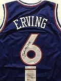 """Autographed/Signed Julius Erving """"Dr. J"""" Philadelphia 76ers Sixers Blue Basketball Jersey JSA COA"""