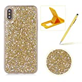 Glitter Case for iPhone XR,Rubber Cover for iPhone XR,Herzzer Ultra Thin Slim Luxury Pretty [Gold Sequins] Sparkle Diamond Soft Gel Silicone Clear Bumper Back Cover