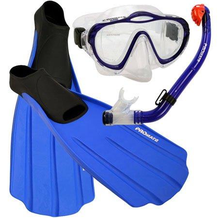 Promate Junior Snorkeling Scuba Diving PURGE Mask DRY Snorkel FULL FOOT Fins Set for kids, Blue, XXS (Shoe: 1-3) ()