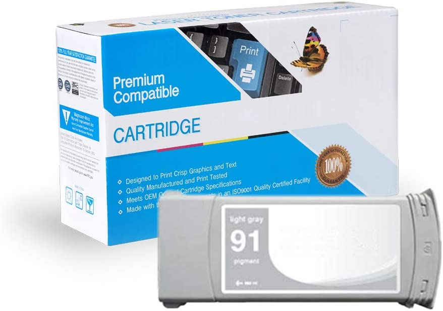 Light Gray, 2 Pack MS Imaging Supply Remanufactured Inkjet Cartridge Replacement for HP C9466A 91