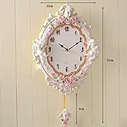 Lina European Luxury and Elegant Wall Clock Bedroom Mute Personality Quartz Clock Swing Home Decoration Watches Living Room Simple and Creative Fashion Wall Chart (Color : Pink)