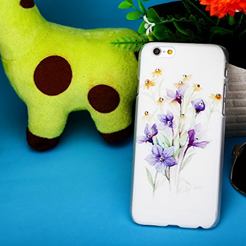 Infinite U 3D Bling Strass Fleur Violet et Marguerite Jaune Phone Case/Coque/Etui/Housse de Protection pour iphone 6/iphone 6s (4.7 Pouces)