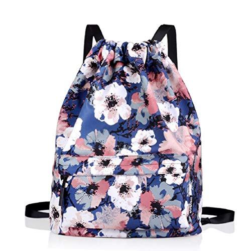 Women Fashion Print Drawstring Backpack Shoulder Bag Front Bag Gym Yoge Beach Bag Travel Daypack School Bag by Lowprofile Blue (Games Like Portal 2 For Xbox 360)