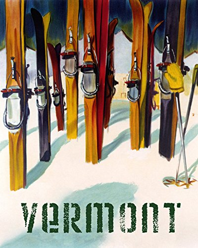 "16""x20"" Vermont Ski Landscape Mountains Skis Winter Sport Skiing American U S A Vintage Poster Repro Standard Image Size for Framing. We Have Other Sizes Available!"