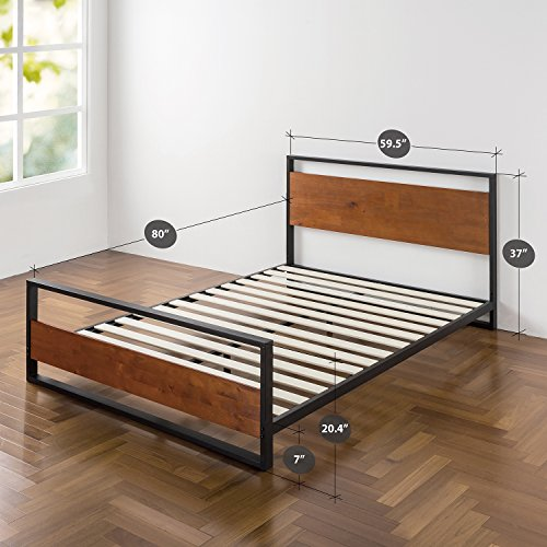 Zinus Ironline Metal and Wood Platform Bed with Headboard and Footboard / Box Spring Optional / Wood Slat Support, Queen - bedroomdesign.us
