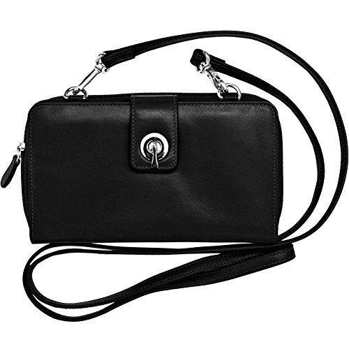 ili New York 6365 Leather Smartphone Crossbody Wallet with RFID Blocking Lining (Black)