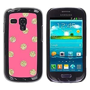 For Samsung Galaxy S3 III MINI (NOT REGULAR!) / I8190 / I8190N Case , Gold Pattern Peach Polka Dot - Diseño Patrón Teléfono Caso Cubierta Case Bumper Duro Protección Case Cover Funda