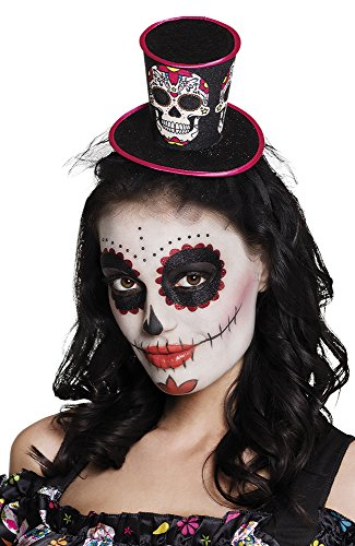 Adult Day of the Dead Mini Top Hat on Headband Halloween Fancy Dress Accessory