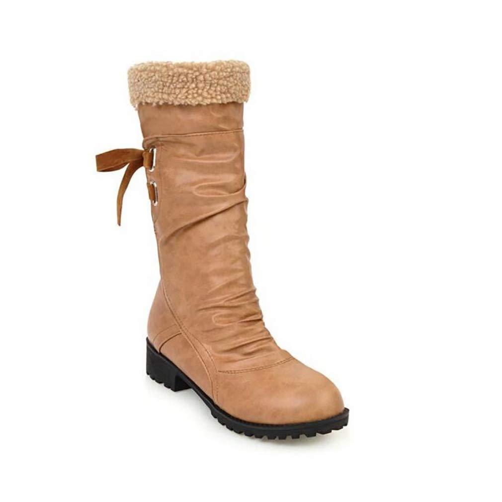 H&Y Frauen Stiefel Künstliche PU Winter Schneeschuhe Stiefel/Student Wohnung Große Größe/Mitte-Stiefel/Damen Plus Kaschmir/Hohe Stiefel Gelb/Schwarz / Grau