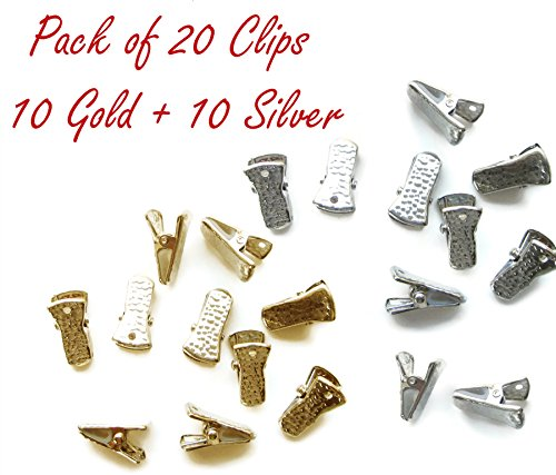 Metal Bulldog Clips for ID Badge Holders Lanyards Jewelry - Mini Alligator Grip Style (Gold and Silver) (Curtain Beading)