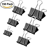150 Pieces Assorted Binder Clips, Perskii Heavy Duty Paper Clamp Clips Paper Binder Assorted 6 Sizes for Students Teachers Schools Office Home (150)