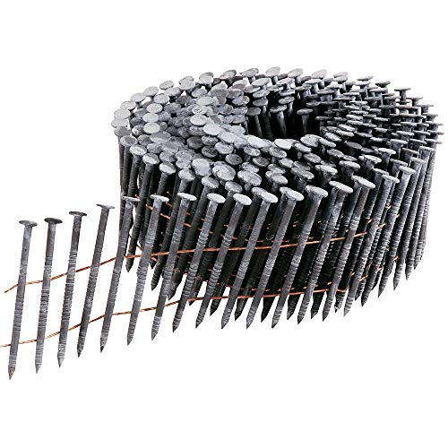 MProve 1-1/2-Inch x 0.092-Inch Full Round-Head Ring Shank Hot-Dipped Galvanized Wire Coil Siding Nails, 1200-Pack