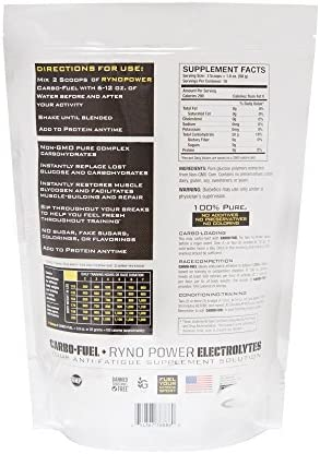 Ryno Power Carbo-Fuel - All-Natural Pure Carbohydrate Powder for Athletic Performance - Vegan and Gluten Free