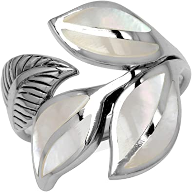 Silvershake Black Mother of Pearl Inlay White Gold Plated 925 Sterling Silver Swirl and Spiral Ring