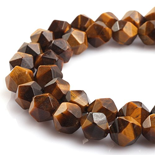 - JOE FOREMAN 10mm Tiger Eye Semi Precious Stone Faceted Loose Beads for Jewelry Making DIY Handmade Craft Supplies 15