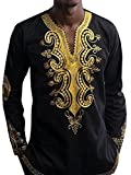 Bbalizko Mens Dashiki African Print V Neck Shirt Loose Tops Plus Size (XXX-Large, Black)