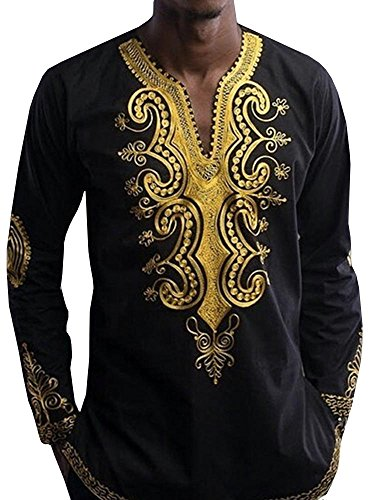 Bbalizko Mens Dashiki African Print V Neck Shirt Loose Tops Plus Size (XXX-Large, Black) by Bbalizko
