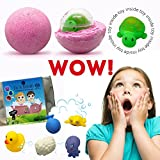 Bath Bombs For Kids With Surprises Inside - 6 5.5oz Fun, Safe and Kids Friendly Bath Fizzies - 6 Pack in safe Egg Carton with Free E-ArtBook- Handmade in USA