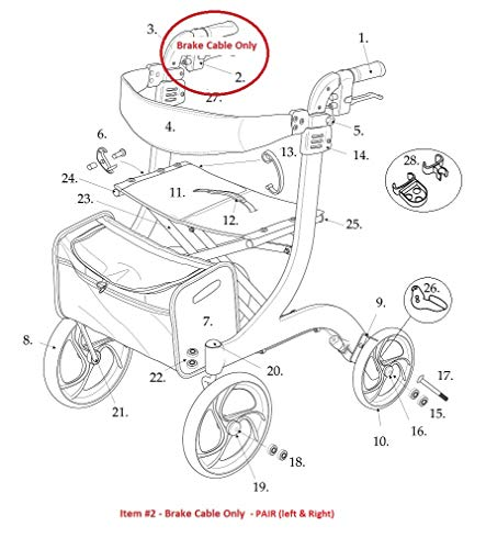 Brake Cable Only (Pair) for Drive Standard RTL10266 Nitro Rollator Walker - 1026632 - Pair