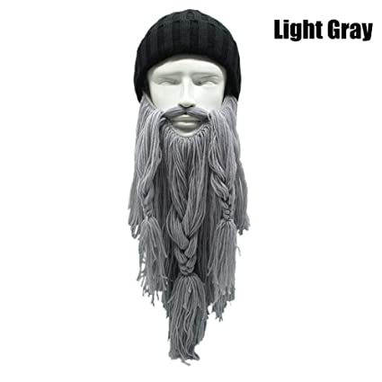 e861c6a3686 Autumn Winter Warm UniViking Hat Handmade The Barbarian Vagabond Knit Long  Beard Beanie Cool Gag Funny