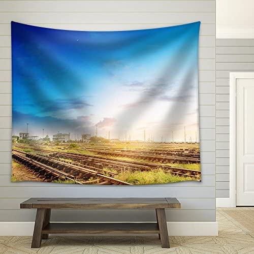 Cargo Train Platform at Sunset with Container Fabric Wall