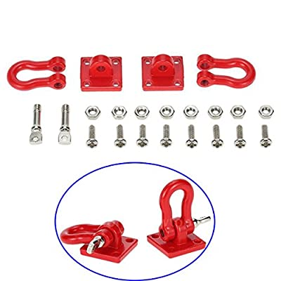 ShareGoo Metal Climbing Trailer Tow Hook Hooks Buckle Winch Shackles Accessory for 1/10 Scale RC Crawler Truck D90 SCX-10 Climbing Car,Red: Toys & Games