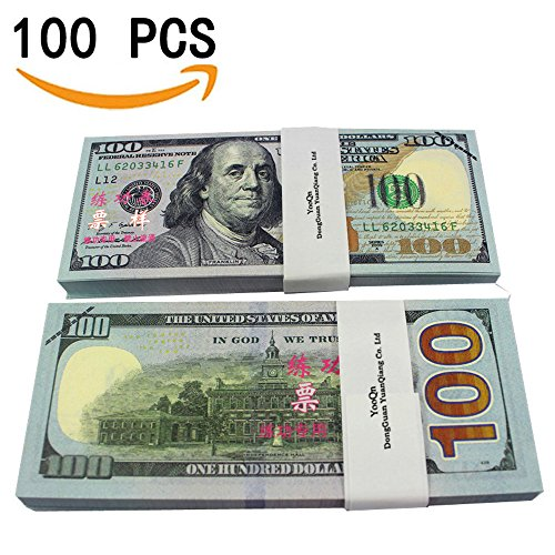 Fake 100 Dollar Bills (YooQn Play Money $10,000 Full Print New Style Money Copy of $100 Dollar Bills Stack, in Authentic Bank Strap)
