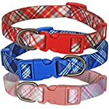 Plaid Dog Collar Adjustable (Small, Pink) by The Best Pet