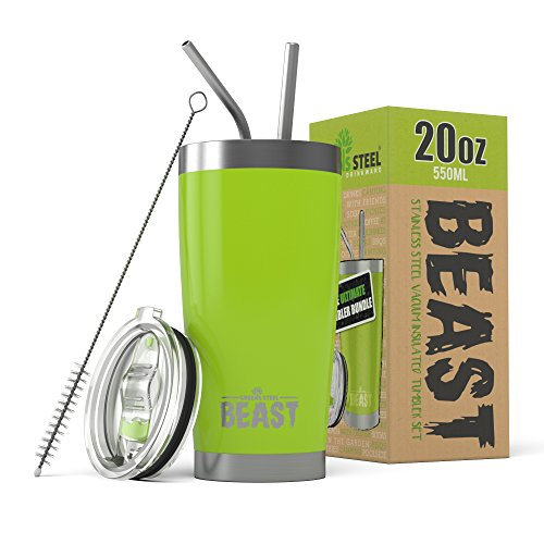 (Beast 20 oz. Tumbler Stainless Steel - Vacuum Insulated Rambler Coffee Travel Cup Gift Bundle (20 oz, Lemongrass Green))