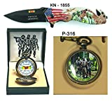 Father's day Gift (Set) Vietnam Memorial Pocket Watch + Knife