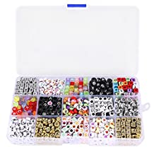 Beads - SODIAL (R) Kit of 1100 letter alphabet beads for braided bracelet with storage box