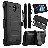 zte prelude 2 cell phone - ZTE Prestige 2 Case, ZTE Prelude Plus Case, Venoro Heavy Duty Shockproof Full Body Protection Rugged Case Cover with Swivel Belt Clip and Kickstand for ZTE Prestige 2 / ZTE Prelude Plus (Black)