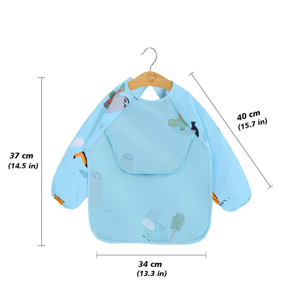 2er Pack L/ätzchen mit /Ärmeln Neuer Stil Wasserdicht Baby F/ütterung L/ätzchen mit langen /Ärmeln Waschbare Baumwolle Baby Sch/ürze f/ür 6-36 Monate Kinder Essen Malen und Spielen