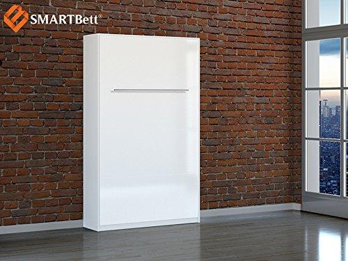 SCHRANKbett SMARTBETT Foldaway bed Murphy bed Gästebett 120 Vertikal Weiß mit Hochglanzfront