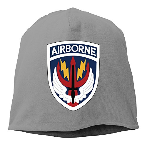 Badge Beanie - Sports Ventilated Cool Airbone Badge Skull Beanie Cap DeepHeather