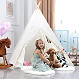 White Canvas Teepee Childrens Play Tent with Floor Mat - Cotton Foldable Portable Teepee Tent Playhouse for Kids - Fun Outdoor Indoor Child Play Tent with Window, by Tiny Land