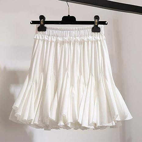 DAHDXD Blanco Negro Gasa Verano Pantalones Cortos Falda Mujer Moda ...
