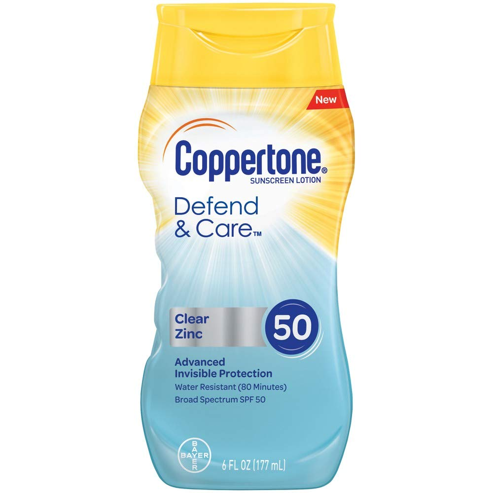 Coppertone Defend & Care Clear Zinc SPF 50 Sunscreen Lotion, 6 fl oz (Pack of 2)