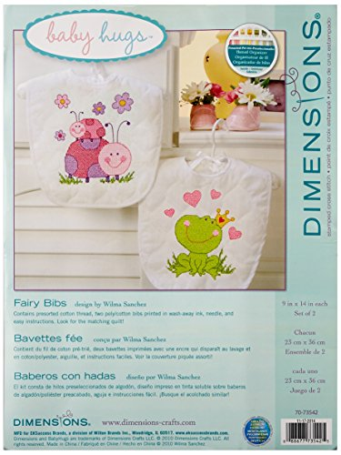 Dimensions Fairy Baby Bibs Stamped Cross Stitch Kit, Baby Shower Gift for Girls, 9