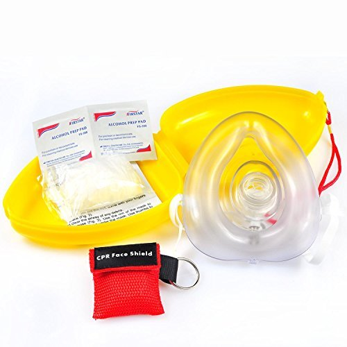 Defler CPR Rescue Mask, Adult/Child Pocket Resuscitator, Hard Case with Wrist Strap Include 1 CPR Mask Keychain Ring and Disposable ()