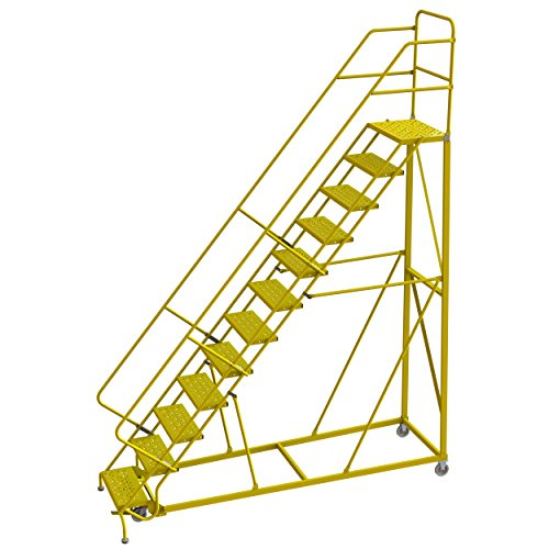 Tri-Arc KDEC112246-Y 12-Step Forward Descent Safety Angle Steel Rolling Industrial & Warehouse Ladder with Perforated Tread, 24