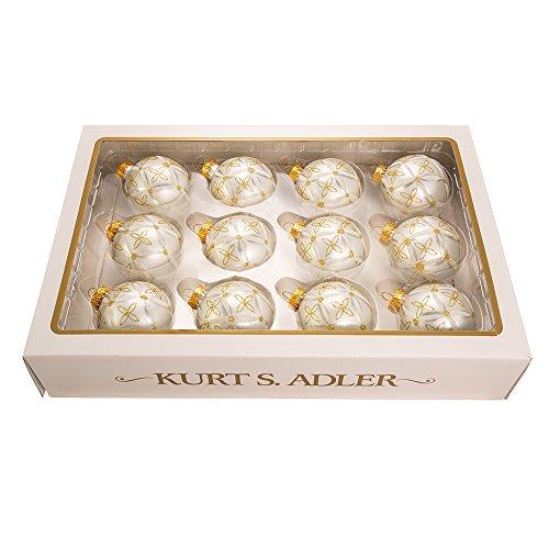 - Kurt Adler 60mm Silver/Gold+Silver Detail Balls, Set of 12