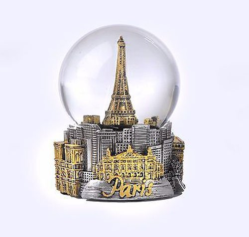 - Paris France Eiffel Tower Snow Globe 80mm- With Gold Tone Eiffel and Gold Tone ICons