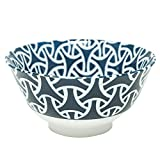 "Japanese rice bowl, Porcelain, lucky charm patterns ""Enmusubi"" (matchmaking), Blue and white pottery"