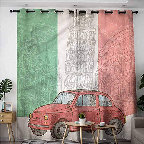 XXANS Living Room/Bedroom Window Curtains,Italian Flag,Leaning Tower of Pisa,for Bedroom Grommet Drapes,W72x108L