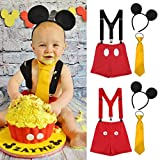 Baby Boy Mouse Cake Smash First Birthday Bloomers Suspenders Necktie Ear Headband Clothes Outfits Photography Props Costume