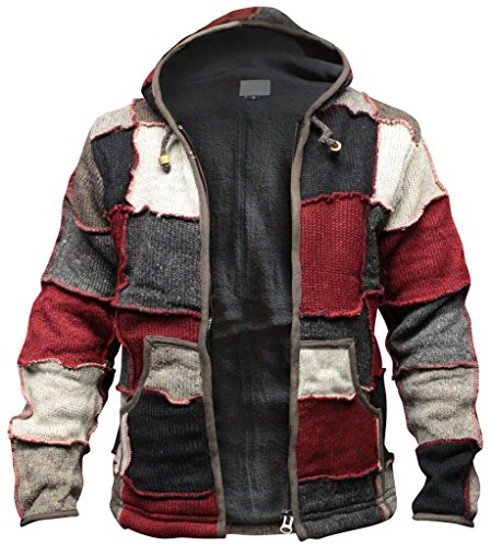 Shopoholic Fashion Mens Winter Patch Wool Hippie Jacket (L)]()
