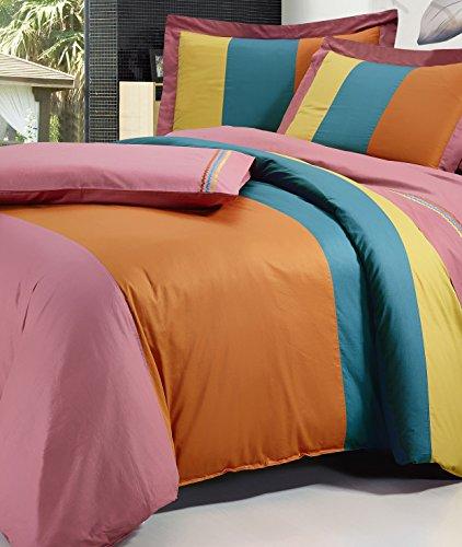 Serenta Cotton Duvet Cover 7 Piece Sheet Set, King, Brick/Gold/Blue/Orange