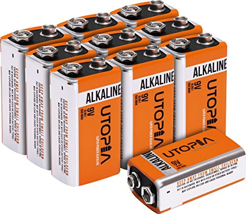 Price comparison product image 9V Alkali Battery (Pack of 10) - Long Lasting Performance - Ideal for Daily Use - by Utopia Home