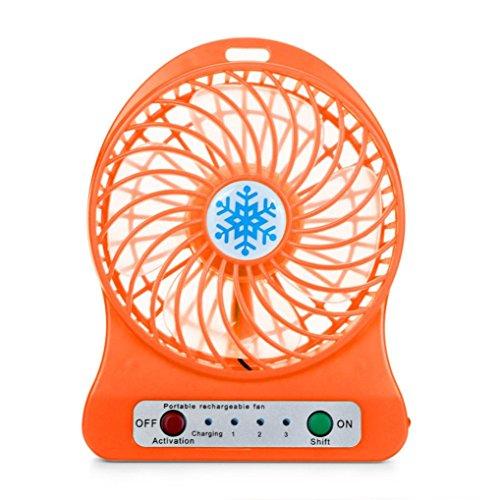 Compia Portable Rechargeable 3 Modes LED Light Fan Air Cooler Mini Desk USB 18650 Battery Fan (Orange)
